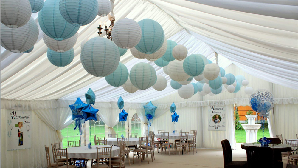 Baby Blue Lanterns Decorate Christening And 1st Birthday Celebrations Hanging Lantern Company