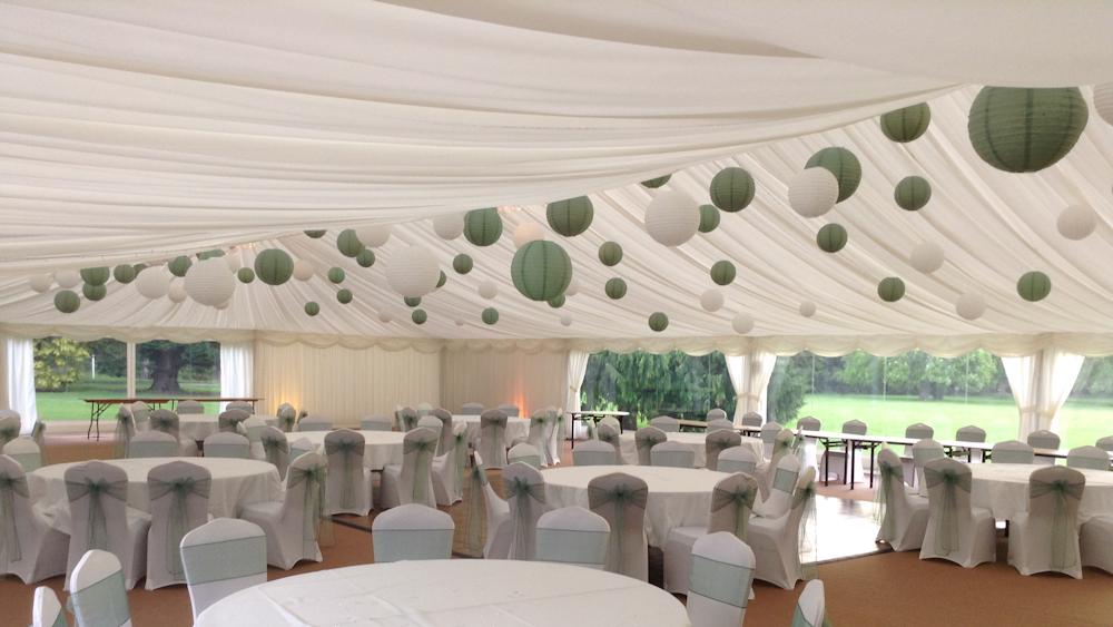 Sage Green Lanterns Decoarate this Scottish Garden Wedding