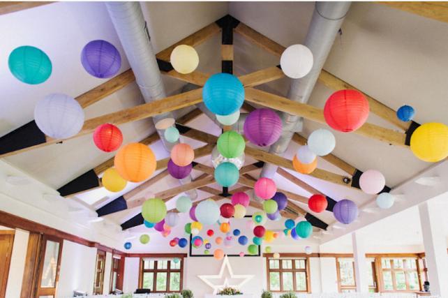Coloured hanging lanterns