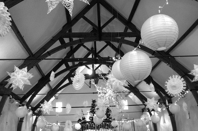 A Glistening Wedding at Long Furlong Barn with Snowflakes and Lanterns