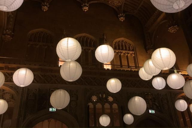 Paper Lanterns Illuminating Kings College London