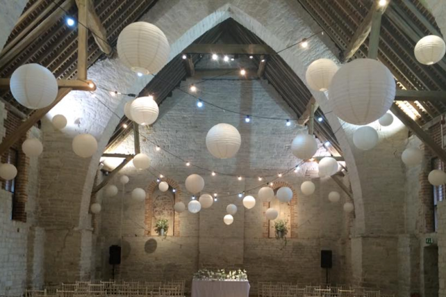 White and cream wedding lanterns