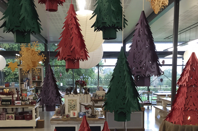 Paper Christmas Tree Lanterns at Wakehurst Place