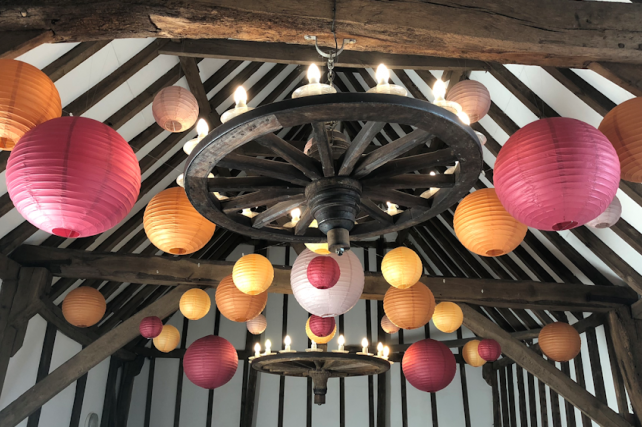 Wedding lanterns at Blackstock Barn