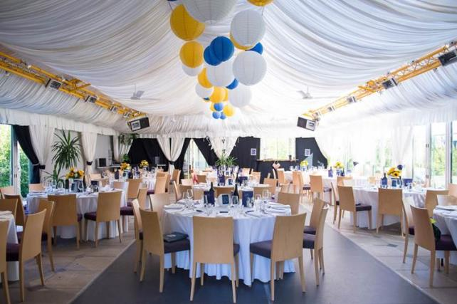 Blue yellow and white marquee lanterns