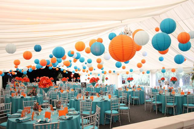bright coloured hanging lanterns