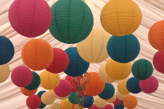 Colourful paper hanging lanterns