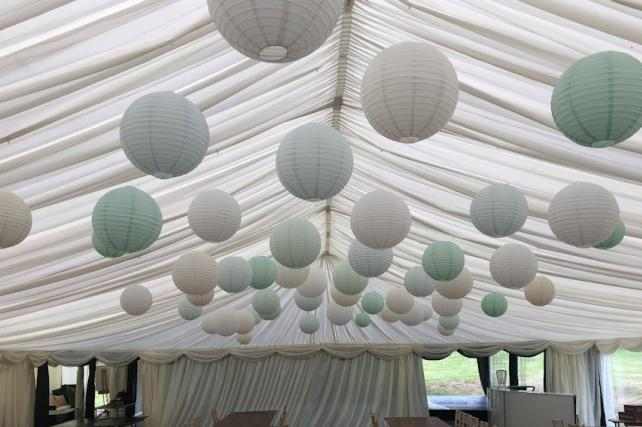 Cream and blue paper lanterns