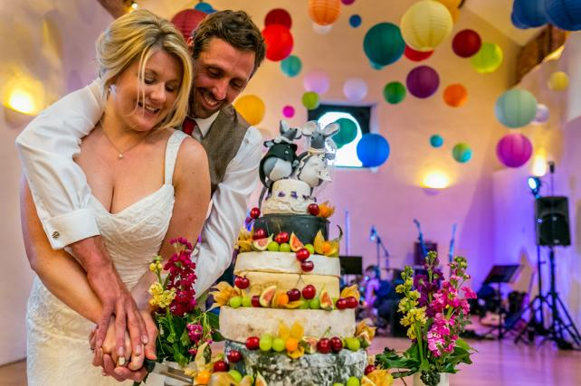 Brightly coloured wedding paper lanterns