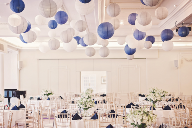 Dove grey and blue paper hanging lanterns