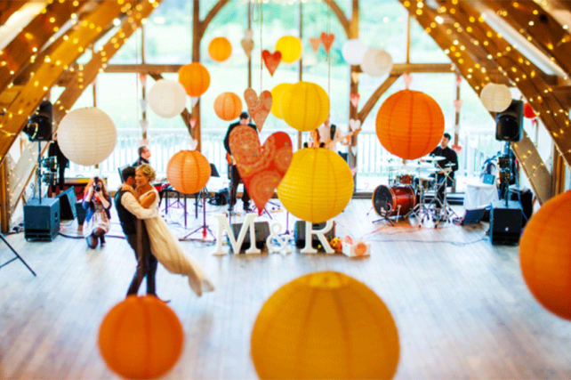 Wedding lanterns and inspirational wedding and marquee paper lantern a bright bespoke wedding with yellow and orange paper lanterns junglespirit Gallery