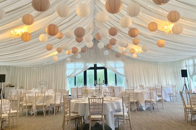 Neutral Paper Lanterns in Cotswolds
