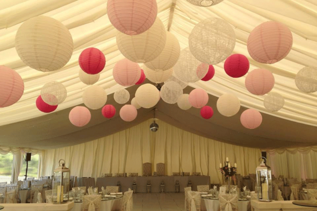 lace and pink wedding marquee lanterns