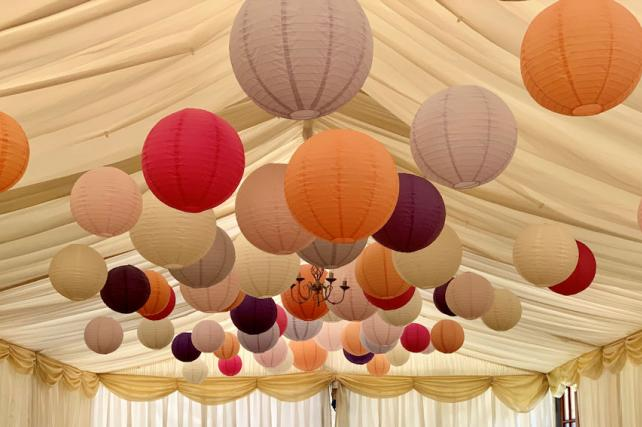 Pink and Purple Paper Hanging Lanterns