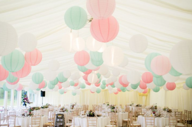 Pink, robin egg and white lanterns