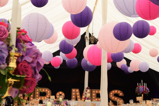 Purple and Pink Wedding Lanterns