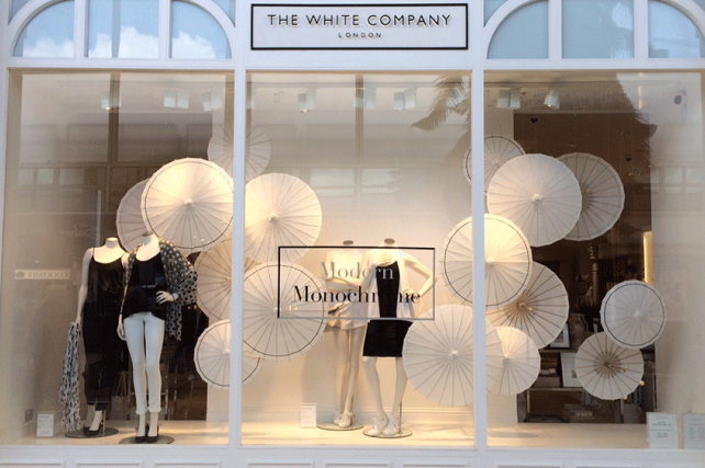 The White Company dress their windows with Paper Parasols