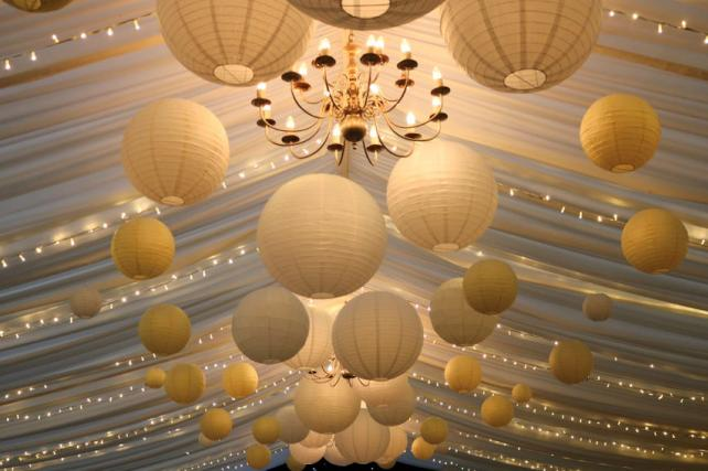 Yellow and White Paper Lanterns at Broyle Place