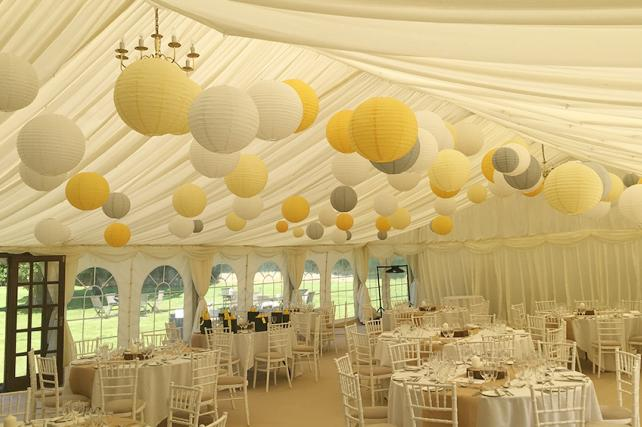Yellow and dove lanterns at Slaugham Place