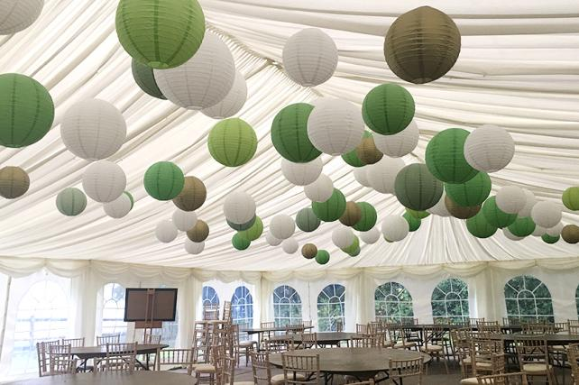 Camelot Marquee sussex with Coloured Paper Lanterns
