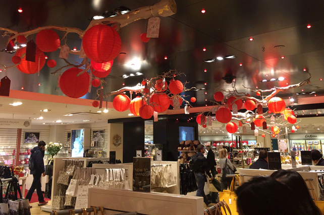 Red Outdoor Lanterns in Harrods London
