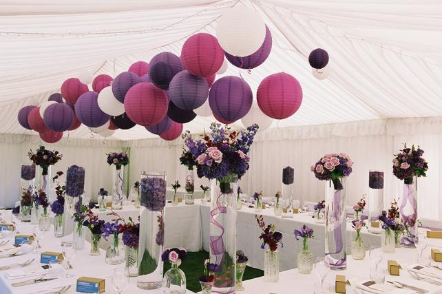 Purple and white wedding lanterns