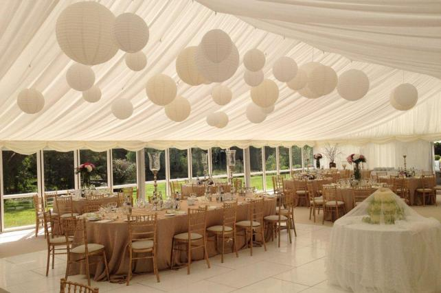 Ivory and cream paper lanterns