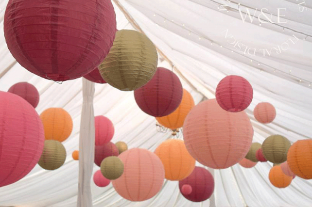 Contemporary twist on Autumnal coloured lanterns at Middleton Lodge