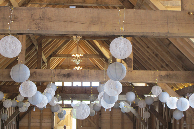 Barn wedding lace lanterns