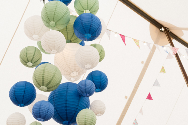 Blue and Green Paper Lantern Cluster