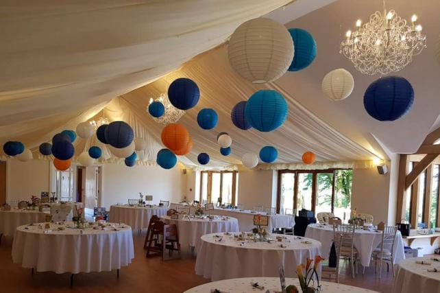 Blue and orange wedding lanterns