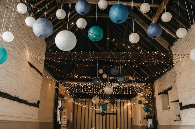 Blue and teal lanterns at Friars Court
