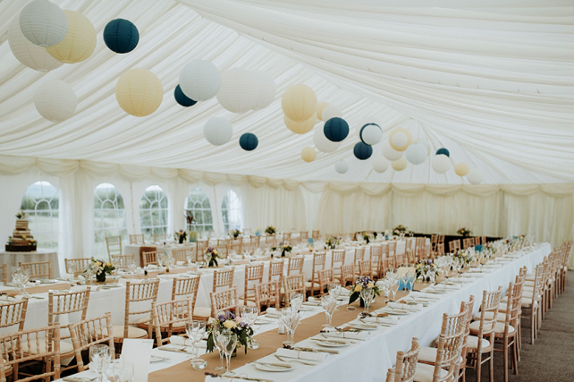 Blue and yellow paper lanterns