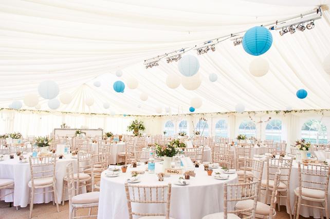 Blue and white marquee wedding lanterns