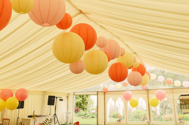 Geoff and Victoria's Boho Wedding Lanterns at Rookwood House