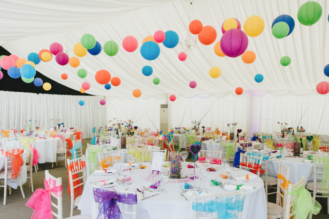 Bright coloured paper hanging lanterns