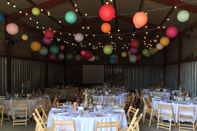 Wedding Lanterns Suspended on Festoon Lights