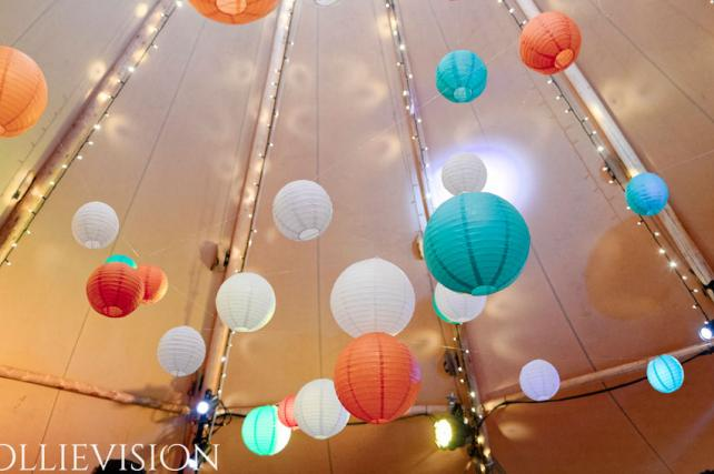 Copper and Teal Wedding Lanterns