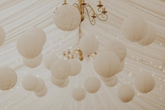 Cream and lace hanging lanterns