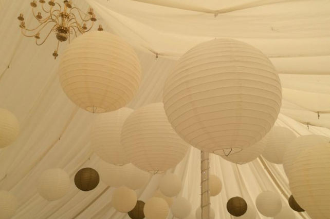 Cream marquee lanterns