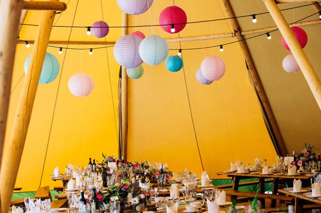 Essex Tipi Wedding with Paper Lanterns