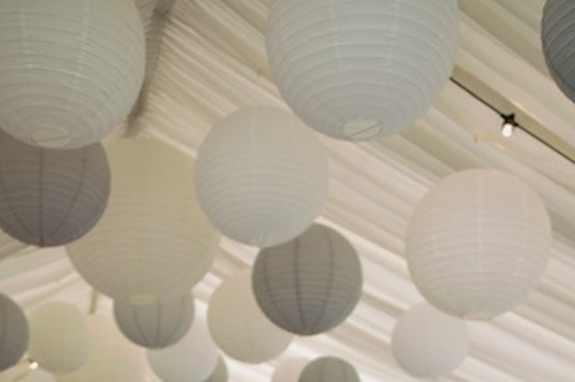 Sophisticated dove grey hanging lanterns