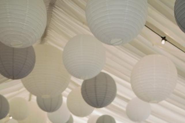 Sophisticated dove grey hanging lanterns