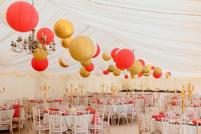 Gold and red hanging paper lanterns