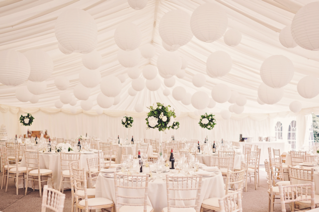 Winter white wedding lanterns