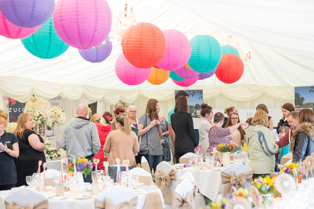 Welsh Hilltop Hotel Decorates Marquee with Coloured Lanterns