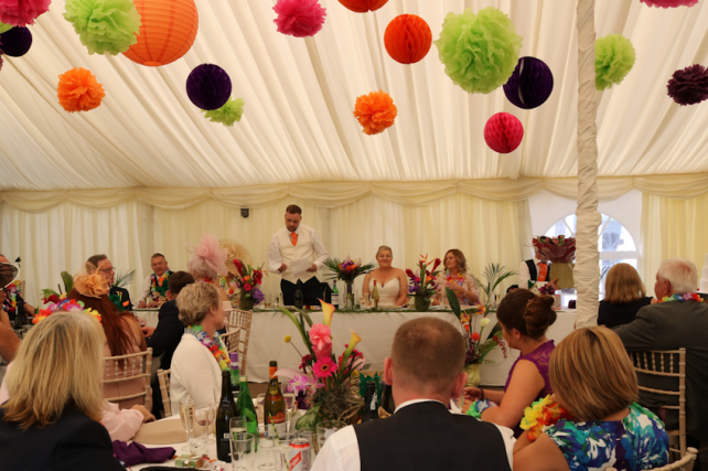Coloured wedding lanterns and tissue pompoms