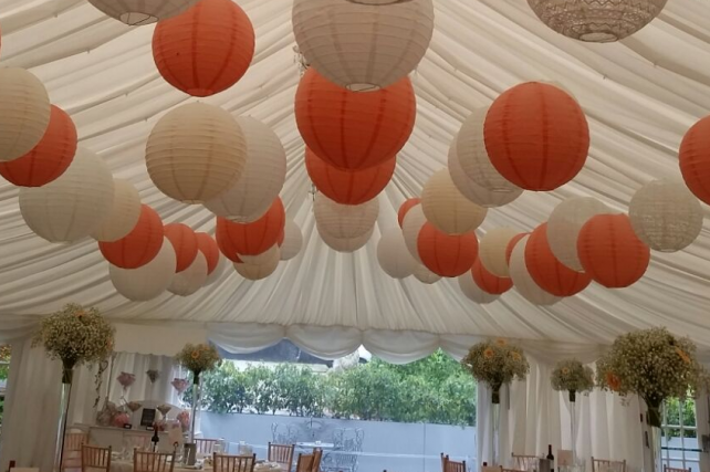 Peach and cream lanterns at The Woodlands Hotel