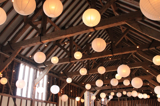 Ivory paper lanterns in barns