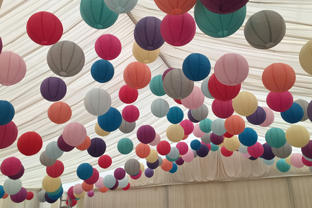 Amazing Canopy of Coloured Hanging Lanterns